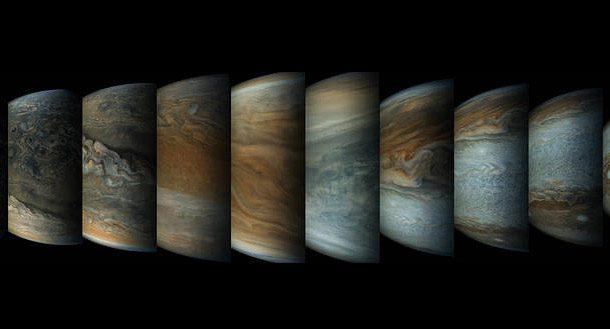 دنباله ای از تصاویر سیاره مشتری