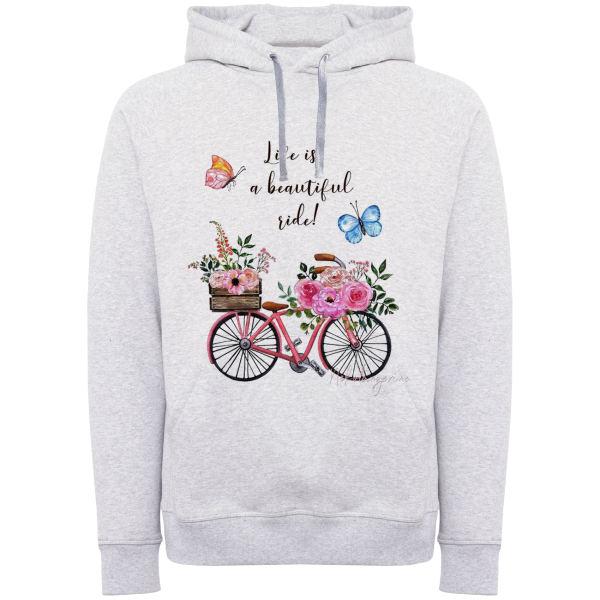 هودی زنانه مدل دوچرخه و گل F584