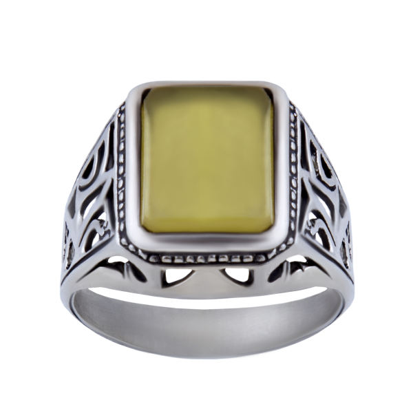 انگشتر نقره مردانه بازرگانی میلادی مدل عقیق شرف الشمس کد AM_021