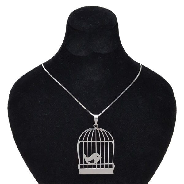 گردنبند نقره زنانه طرح پرنده و قفس کد 001