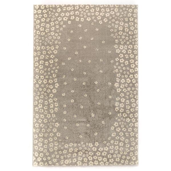 فرش ماشینی ساوین طرح ۴۰۰۷ زمینه نقره ای روشن