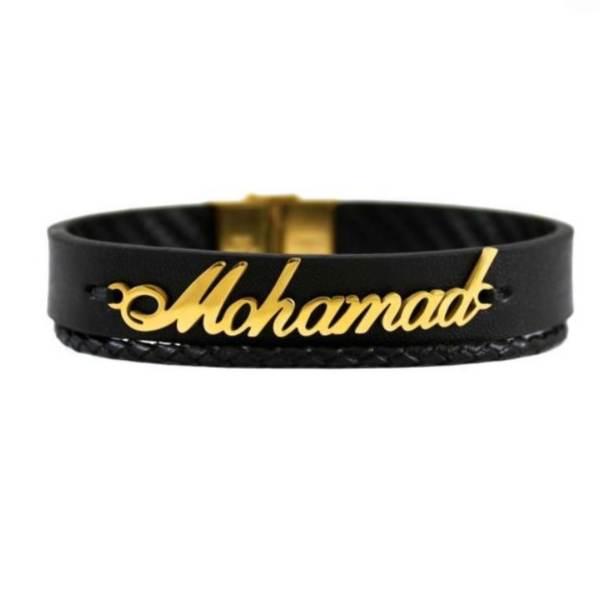 دستبند نقره مردانه طرح اسم محمد