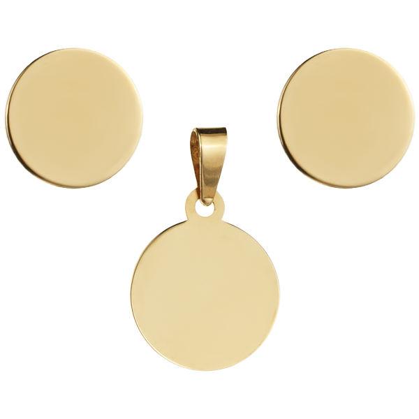 نیم ست طلا 18 عیار زنانه طرح دایره کد S3-001