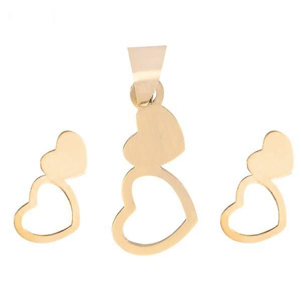 نیم ست طلا 18 عیار زنانه طرح قلب کد 18922