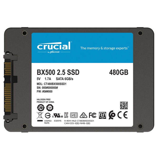 اس اس دی اینترنال کروشیال مدل BX500 ظرفیت 480 گیگابایت
