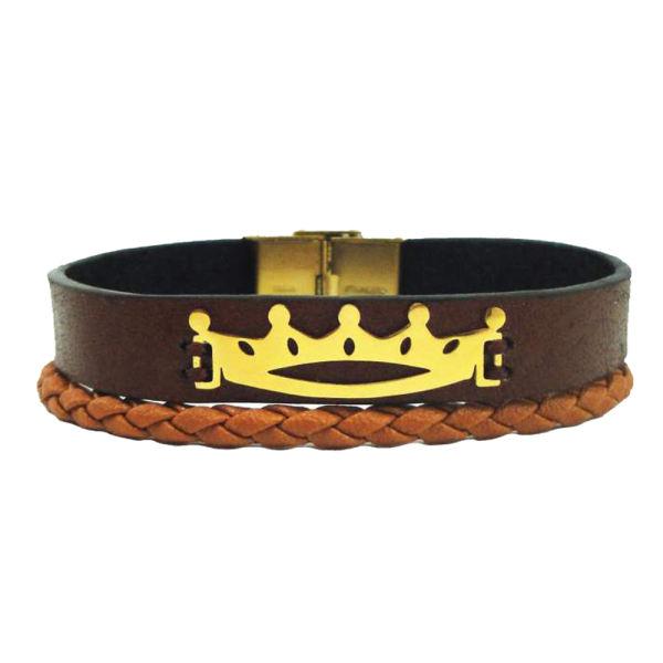 دستبند نقره مردانه طرح تاج کد Le01