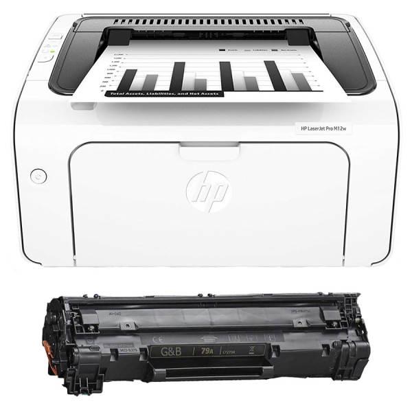 پرینتر لیزری اچ پی مدل LaserJet Pro M12W به همراه یک تونر اضافه