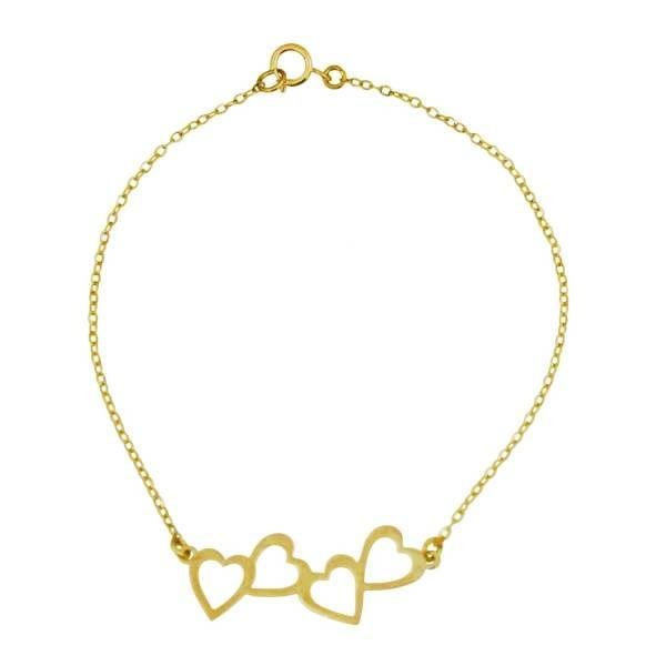دستبند طلا 18 عیار زنانه طرح قلب کد UN126