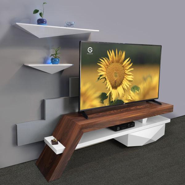 میز تلویزیون راهپود مدل آفتابگردان به همراه طبقه دیواری