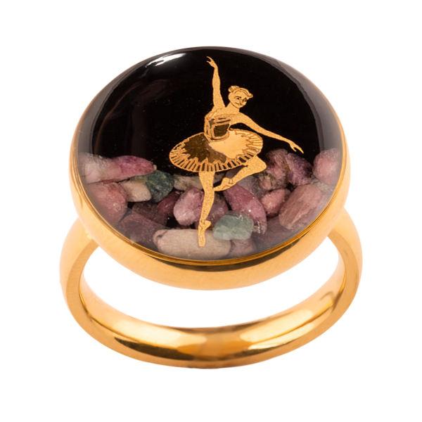 انگشتر طلا 24 عیار زنانه الون طرح رقص باله