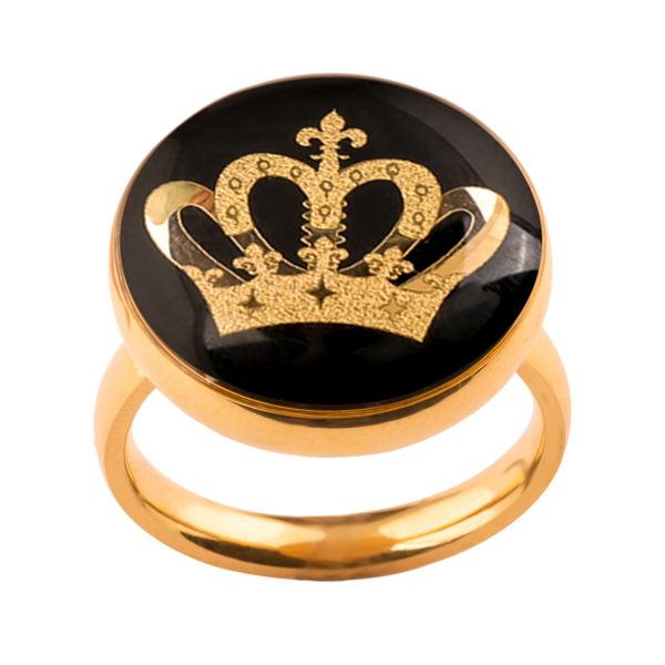 انگشتر طلا 24 عیار زنانه الون طرح تاج ملکه