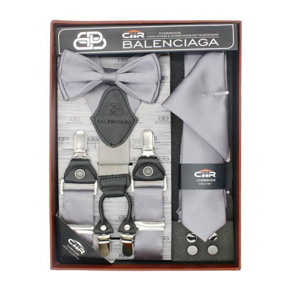 ست ساسبند و کراوات و پاپیون مردانه سی اچ آر کد MH090GY غیر اصل