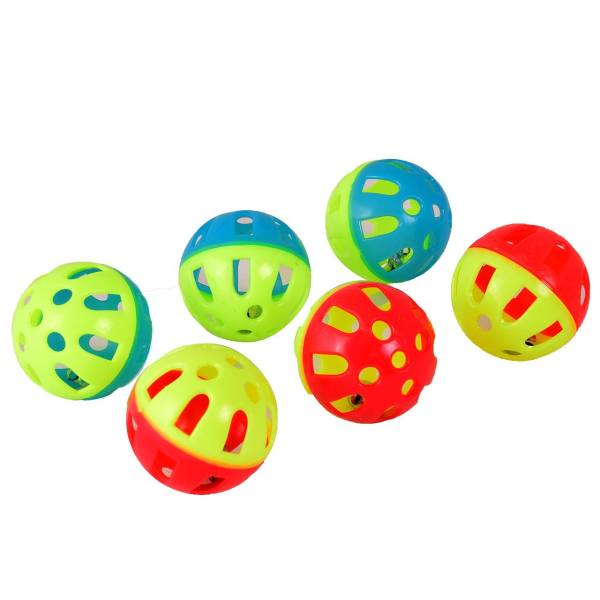 اسباب بازی گربه و سگ توپ زنگوله دار مدل Plastic Bell Balls بسته 6 عددی