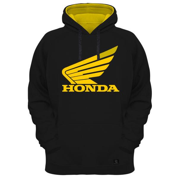 هودی مردانه 27 مدل HONDA کد H15 مشکی کلاه زرد