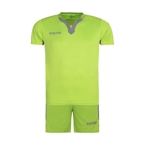 ست تی شرت و شلوارک ورزشی مردانه مکرون مدل کاناپوس رنگ فسفری