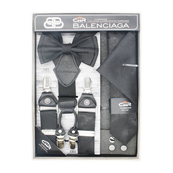 ست ساسبند و کراوات و پاپیون مردانه سی اچ آر مدل MH090BKJ غیر اصل