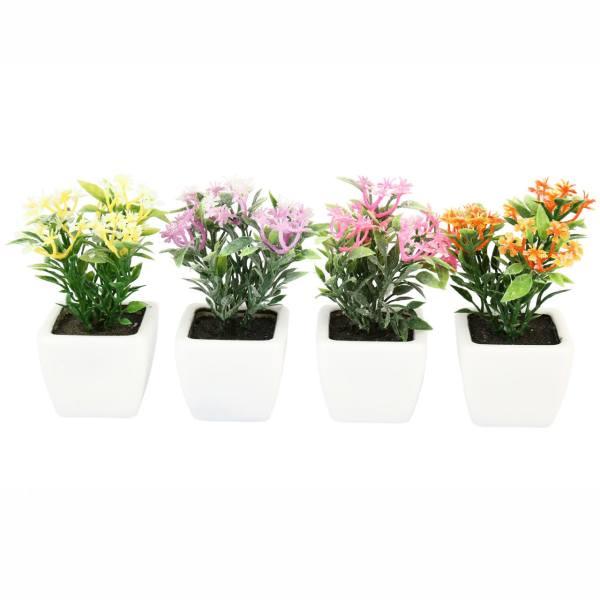 گلدان به همراه گل مصنوعی هومز طرح پنجه ای مدل 30501 مجموعه 4 عددی