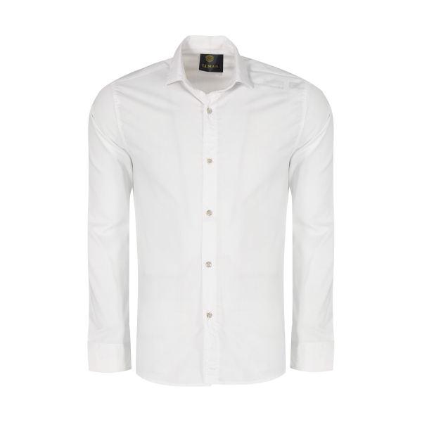 پیراهن آستین بلند مردانه مدل PVLF رنگ سفید