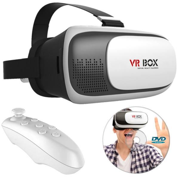 هدست واقعیت مجازی وی آر باکس مدل VR Box 2 به همراه ریموت کنترل بلوتوث و DVD نرم افزار و USB LED هدیه