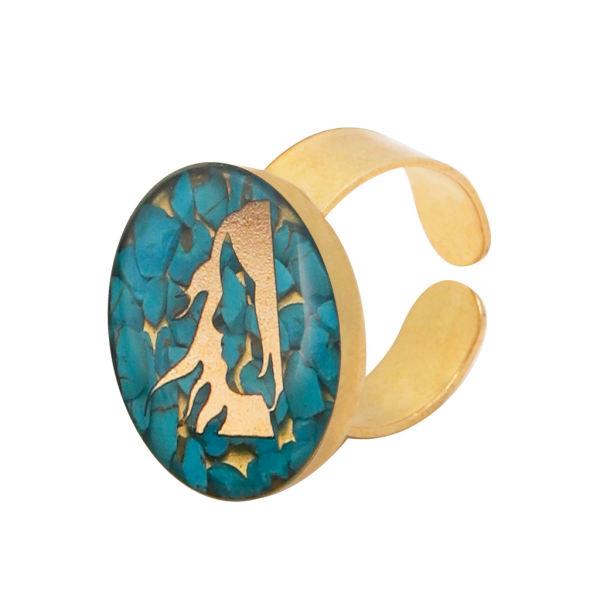 انگشتر طلا 24 عیار زنانه مدل آلتین هنر طرح شهریور کد 100063F