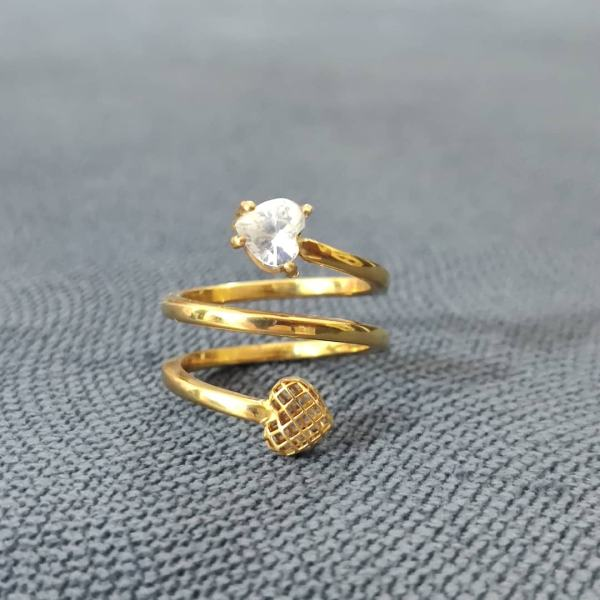 انگشتر طلا 18 عیار زنانه قیراط طرح قلب کد GH108