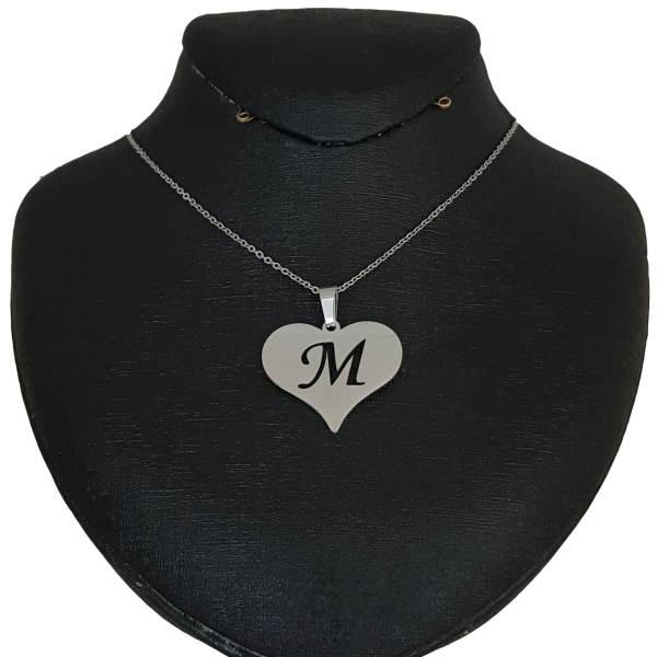 گردنبند نقره مدل قلب حرف M کد AC34