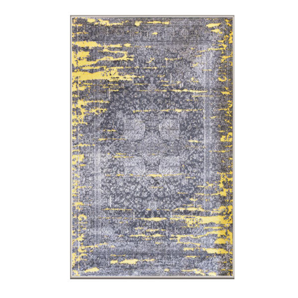 فرش ماشینی طرح پتینه کد2013 زمینه طوسی و زرد