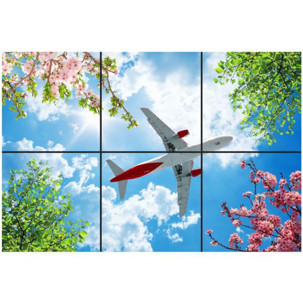 تایل سقفی آسمان مجازی طرح گل و هواپیما کد 0100 سایز 60x60 سانتی متر مجموعه 6 عددی