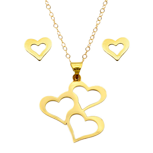 نیم ست طلا 18 عیار زنانه کاپانی مدل قلب کد KS010