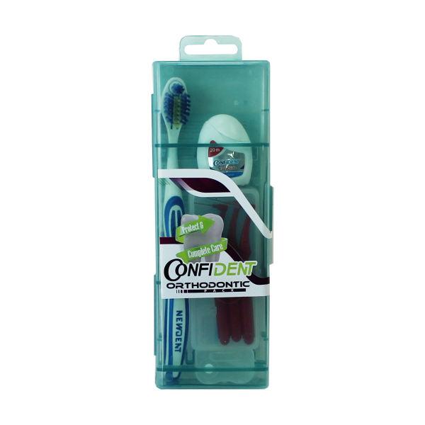 مسواک کانفیدنت مدل ارتودنسی با برس نرم به همراه مسواک بین دندانی بسته 3 عددی و نخ دندان