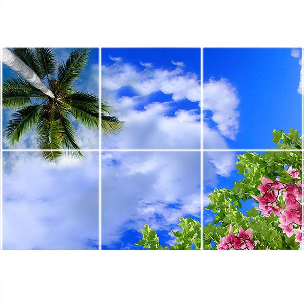 تایل سقفی آسمان مجازی طرح گل و نخل کد ST 1033-6 سایز 60x60 سانتی متر مجموعه 6 عددی