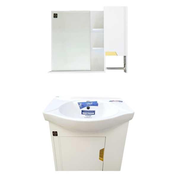 ست کابینت و روشویی آذر کابین مدل کاسپین به همراه آینه و باکس