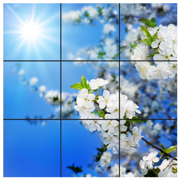 تایل سقفی آسمان مجازی طرح شکوفه و خورشید کد 0100 سایز 60x60 سانتی متر مجموعه 9 عددی