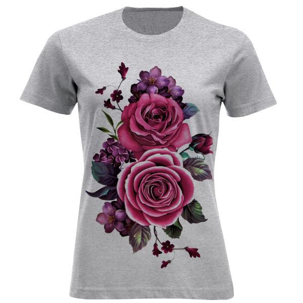 تیشرت آستین کوتاه زنانه طرح گل کد F706