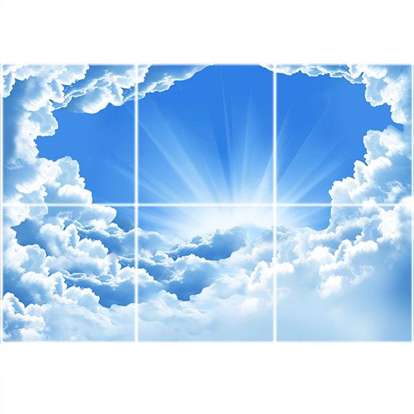 تایل سقفی آسمان مجازی طرح طلوع خورشید و ابرها کد ST 7106-6 سایز 60x60 سانتی متر مجموعه 6 عددی