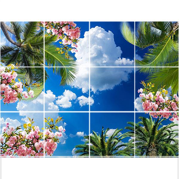 تایل سقفی آسمان مجازی طرح گل و نخل کد ST 2340-12 سایز 60x60 سانتی متر مجموعه 12 عددی