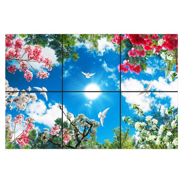 تایل سقفی آسمان مجازی طرح شاخه و برگ و گل کد 0800 سایز 60x60 سانتی متر مجموعه 6 عددی