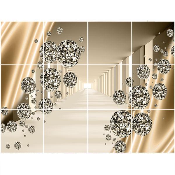 تایل سقفی طرح سه بعدی توپی کد 3D1937-12 سایز 60x60 سانتی متر مجموعه 12عددی
