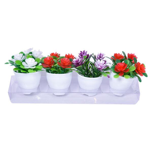 گلدان به همراه گل مصنوعی مدل بهار مجموعه 4 عددی