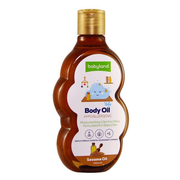 روغن نرم کننده بدن کودک بیبی لند مدل sesame oil حجم 200 میلی لیتر
