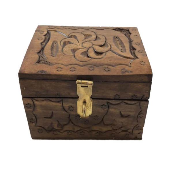 جعبه هدیه مدل صندوق چوبی طرح منبت کاری