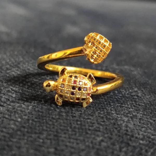 انگشتر طلا 18 عیار زنانه قیراط طرح لاک پشت کد GH75