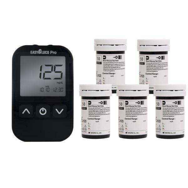 دستگاه تست قند خون اینفوپیا مدل Easy Gluco Pro به همراه نوار تست قند خون مجموعه 250 عددی