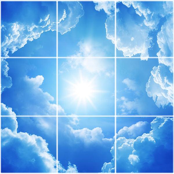 تایل سقفی آسمان مجازی طرح طلوع خورشید کد ST 7106-9 سایز 60x60 سانتی متر مجموعه 9 عددی