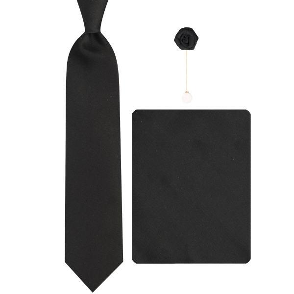 ست کراوات و دستمال جیب و گل کت مردانه جیان فرانکو روسی مدل GF-SO662-BK