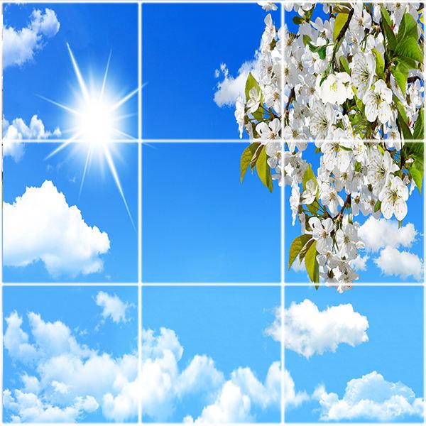 تایل سقفی آسمان مجازی طرح خورشید ابرها و گل کد ST 2531-9 سایز 60x60 سانتی متر مجموعه 9 عددی