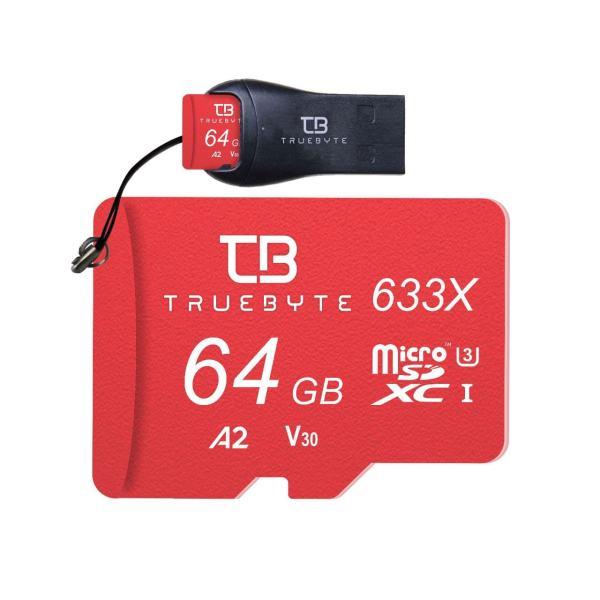 کارت حافظه microSD XC تروبایت مدل 633X-A2-V30 کلاس 10 استاندارد UHS-I U3 سرعت 95MBps ظرفیت 64 گیگابایت همراه با کارت خوان
