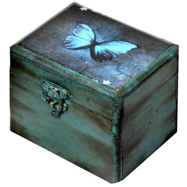 جعبه هدیه چوبی طرح Butterfly کد 02