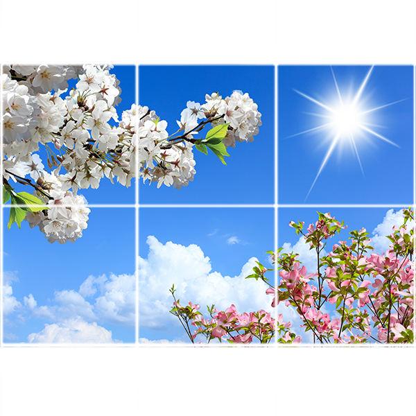 تایل سقفی آسمان مجازی طرح آسمان خورشید ابر و گلها کد ST 2414-6 سایز 60x60 سانتی متر مجموعه 6 عددی