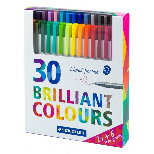 روان نویس استدلر کد 334C30P مدل Triplus Fineliner Brilliant Colours بسته 30 عددی